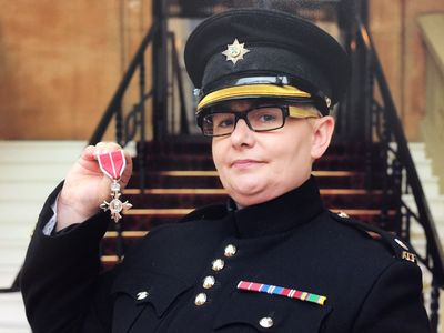 ANTRIM CADET LEADER SALUTED AT THE PALACE